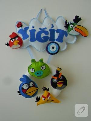 Keçe Angry Birds kapı süsü