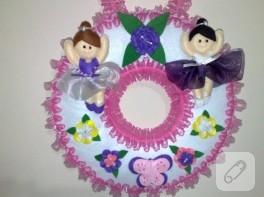Keçe balerinli bebek ve çocuk kapı süsü