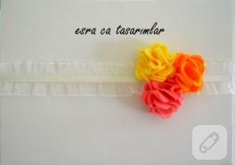Keçe çiçek süslemeli bebek saç bandı