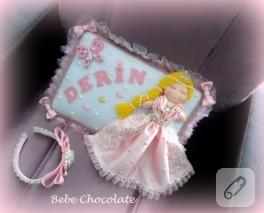 Prensesli bebek takı yastığı ve lohusa tacı