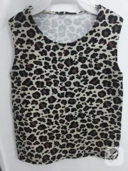 Kalın askılı leopar bluz