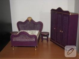 Mor renkte minyatür yatak odası takımı