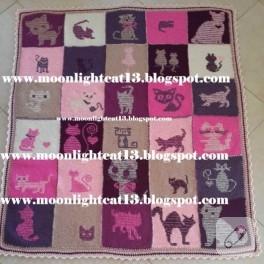 Kedili örgü battaniye