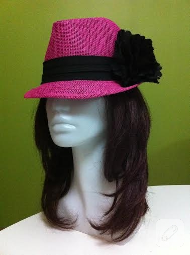 Pembe hasır fötr şapka
