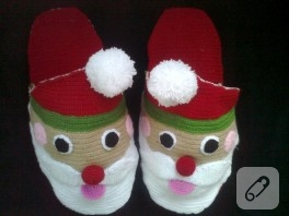 Tığ işi Noel Baba terlik yapımı