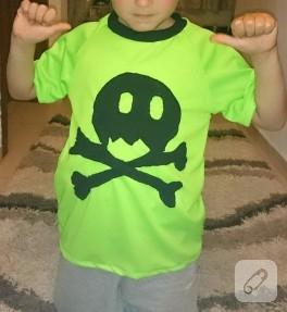 Kuru kafa aplikeli neon tişört