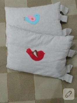Keçe kuş aplikeli yastık modelleri