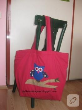 Baykuşlu kırmızı kumaş çanta