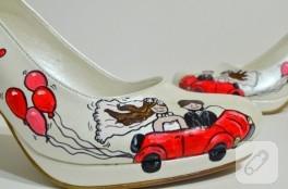 Araba temalı kişiye özel gelin ayakkabısı