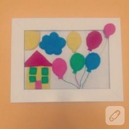 Uçan balon – keçe çerçeve