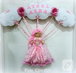 Bulutlu prenses bebek kapı süsü