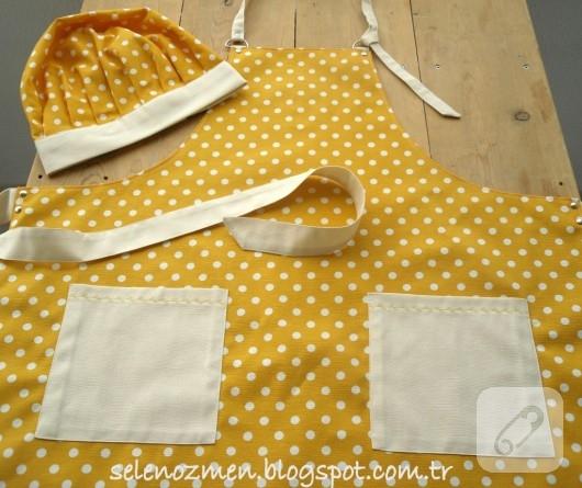 Kumaş mutfak önlükleri ve aşçı şapkaları
