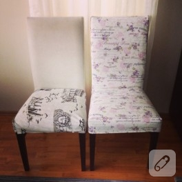 Çiçekli kumaşla sandalye kaplama