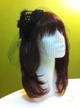 Kafes tül duvaklı siyah nikah şapkası