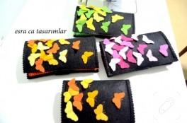Kelebekli keçe cüzdanlar