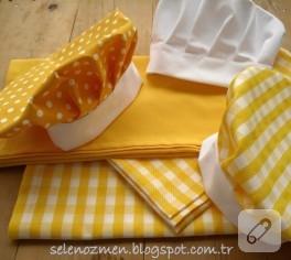 Lipton renklerinde mutfak önlüğü ve şapkaları