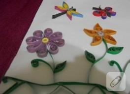 Quilling çiçek ve kelebekler