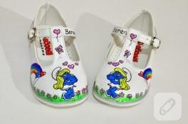 İsme özel el boyaması bebek ayakkabıları