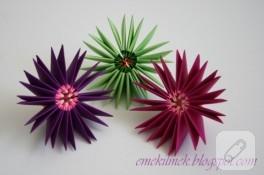 Modüler origami ile çiçek yapımı