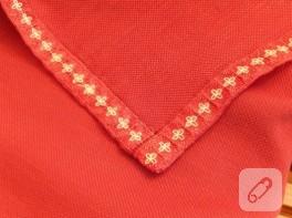 Masa örtüsüne dantel şerit dikimi