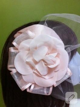 Tül duvaklı pudra nikah şapkası