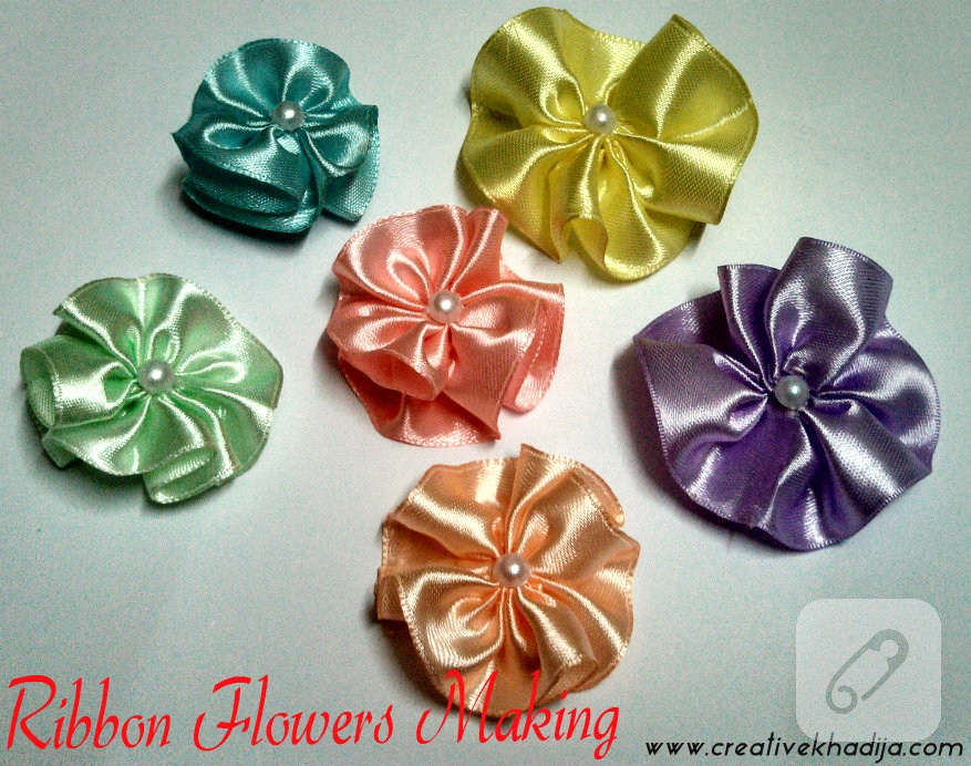 silk ribbons flowers making for headbands-1