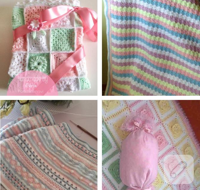 Renkli İplerle Motif Olarak Örülen Bebek Battaniye Yapımı
