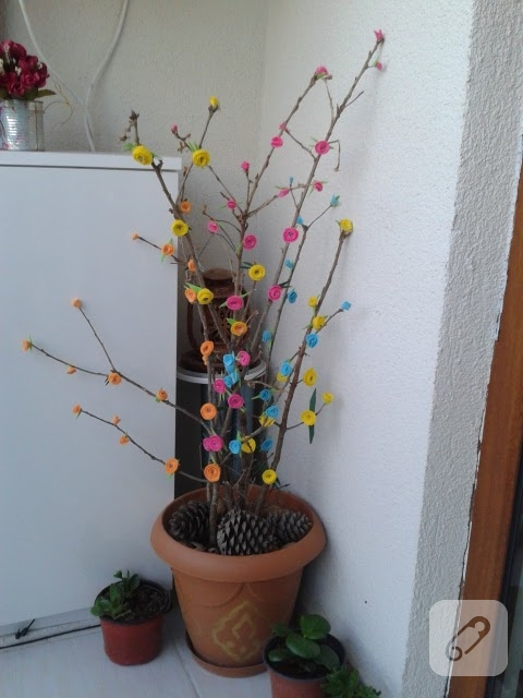 Keçe çiçek Süslemeli Kuru Dallar 10marifetorg