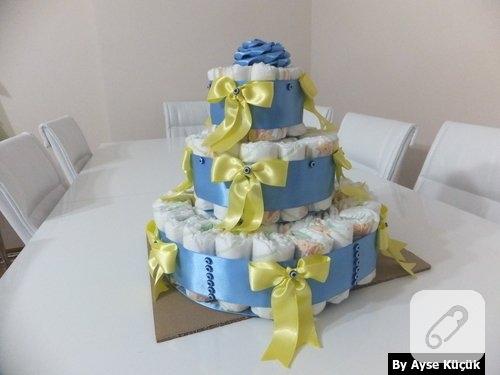 bebek-hediyelikleri-uc-katli-mavi-sari-bez-pasta