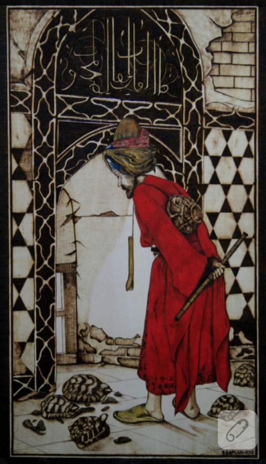 ahsap-yakma-resim-kaplumbaga-terbiyecisi